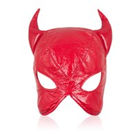 Wholesale Ear Muffs Face Mask - Wholesale-Black Red Soft PU Leather Cow Mask Exotic Adult People Tease Half Hood Mask OX Face Blindfold Fantasia Masquerade Party Cosplay