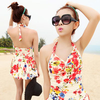 Wholesale Covering Belly Swimsuit - 2015 Manufacturers Outlet New One Piece Cute Style Boxer Swimsuit Cover the Belly Make Thin Female Conservative Swim Dress