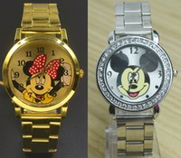 Wholesale Designs Crystal Glasses - Fashion Women Girl Mickey Minnie Mouse design dial Crystal Steel Metal band watch