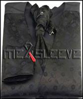 Wholesale Mens Vests Ascot Tie - Wholesale-New arrival free shipping Mens Suit black floral Vest (vest+ascot tie+handkerchief+cufflinks)