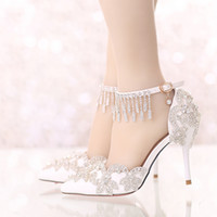 Wholesale White Bride Pumps - Summer Sandals White Pointed Toe Bridal Wedding Party Shoes Crystal High Heel Bride Dress Shoes with Rhinestone Ankle Straps