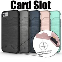 Wholesale Cell Phone Slip Case - Cell Phone Cases Card Slot Holder Kickstand Shell with Brush Protective Anti Slip TPU Back Cover For IPhone X 6 6s 7 8 Plus