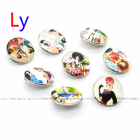 Wholesale American Girl Tv - NOOSA Wholesale 18mm Glass Ginger Snap Modern girl Button Jewelry for Noosa Snaps Bracelet Necklace Ring Earring YD0076