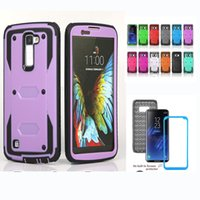 Wholesale Film Plastics - For iPhone 7 6 6S Plus Shockproof Rugged Defender Hybrid Case With Screen Film Cover For Samsung Galaxy S6 S7 Edge S8 Plus LG G4 Note V10