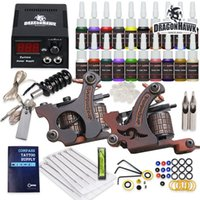 Wholesale tattoo equipment guns kit - Complete Tattoo Kit 2 Machine Guns 20 Ink Equipment Needles Power Supply HW-9GD-13