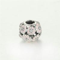 pandora encanto de la primavera al por mayor-5 piezas / lote encantos de flores de esmalte S925 auténtica plata de ley se adapta a las pulseras de estilo pandora PRIMROSE esmalte rosa claro 791488EN68 H9