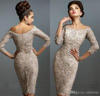 Wholesale Dark Red European Beads - Newest European Mother of Bride Dresses 2016 Sexy Lace Off-Shoulder 3 4 Long Sleeve Elegant Knee-Length Beach Mother Gowns of Wedding