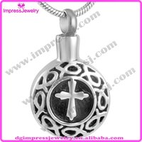 Wholesale Cheap Engraving Gifts - IJD9177 cheap high quality 316l stainless steel round engrave cross pets cremation urn ash jewelry pendant necklace