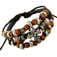 Wholesale Wooden Bead Bracelet Cross - 2018 HOT Handmade Leather Bracelets With Wooden Beads Fashion Punk Wax Rope Cuffs Punk Cross Charm Alloy Unisex Bangles