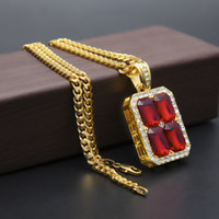 Wholesale Celebrity Gold Chain - Mens Celebrity Style Hip Hop 18k Gold Plated Red Ruby Diamond Pendant Necklace with 5mm 27inch Cuba Chain Necklace Fashion Jewelry