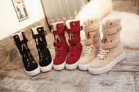 Wholesale Red Thick Heels Boots - Winter snow boots in the cylinder with thick flat boots and thick bottom and velvet cotton shoes tide female boots