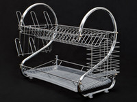 Wholesale Kitchen Dish Drainer - Chrome Kitchen Dish Cup Drying Rack Drainer Dryer Tray Cutlery Holder Organizer
