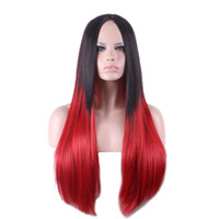 Wholesale Cheap Two Toned Wigs - cheap wigs for women two tone straight wig synthetic heat resistant wigs long ombre black red wig cosplay hair high quality 32 inch