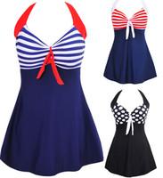 Wholesale Skirt Swimsuits Sexy - New Sexy Stripe Padded Halter Skirt Swimwear Women One Piece Swimsuit Beachwear Swim dress Plus size M~4XL