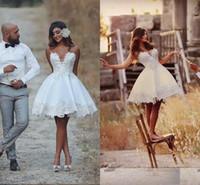 resmi olmayan dantel gelinlik toptan satış-Gayri Kısa Gelinlik Ucuz Diz Boyu Aplike Düğün Gelin Törenlerinde Dantel Vestido De Novia Vintage Brezilya Gelin Resepsiyon Elbiseleri