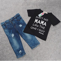 Wholesale Shorts For Toddler Boys - Summer Kids Boys Denim Sets Clothes For Toddler Baby Clothing Black Letter T Shirts+Holes Jeans Trousers 2PCS Tracksuit Ensemble Garcon