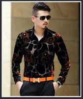 ingrosso trasparente di seta di mens-Mens Guarda attraverso Camicie Camicie vintage barocche Camicie maschili in seta trasparente Camicie con stampa leopardata Camiseta Masculina