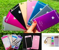 Wholesale Titanium Iphone Back - Hot Colorful Tempered Glass Front + Back 3D Titanium Alloy Explosion Proof Screen Protector Film for iPhone 6 6s 6plus 1set with Retail Box