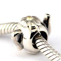 çaydanlık bilezik toptan satış-TEAPOT Gümüş Boncuklar 100% 925 Ayar Gümüş Boncuk Fit Pandora Charms Bilezik Otantik DIY Moda Takı