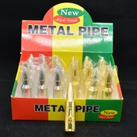Wholesale Large Bullet - The bullet shape smoking pipe Metal character large pipe silver gold color