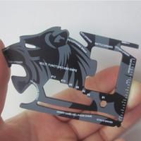 herramienta de tarjeta multi bolsillo al por mayor-18 en 1 Multifunción Tarjeta Cuchillo Abrebotellas Mini Cartera Lion Survival EDC Pocket Card Tool