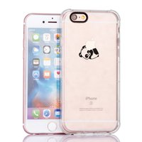 Custodia TPU Lovely Cute Panda Playing Logo trasparente SOFT Cover Cover (Clear) per iPhone 6 / iphone 6S