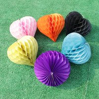 "Wholesale Sky Lanterns For Wedding Decorations - 8""(20cm)Tissue Paper Heart Shaped Honeycomb Balls Lanterns for Wedding Decoration Home Party Romantic Love"