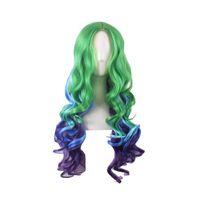 Wholesale Long Blue Wigs - WoodFestival women ombre wig green blue synthetic fiber hair wigs long curly oblique wig heat resistant fahion hair