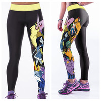 Wholesale Female Body Fitness - Female Yoga Pants Fitness Breathable High Waist Sports Trousers Body Sculpting Leggings Treasure Fetch Adventure Time Elastic Capris LNASlgs