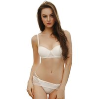 Wholesale Sexy Straps Women String - Wholesale-Lace Bra Set Sexy Bra and Panties Sets Push Up Underwear Set Bra String Luxury Lingerie Women Intimates White Black