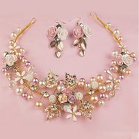Wholesale trendy chain headbands - Bridal Gold Leaf Hair Wear Pearl Flower Set Auger Hair Jewelry Wedding Hair Accessories Bride Head Chain Hair Wear Jewelry (Hair+earring)