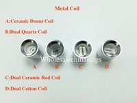 Wholesale dual ceramic coil cannon resale online - Dual Quartz Wax replacement Metal Ceramic Donut Coil Core for cannon bowling vaporizer glass globe dry herb straight tube Atomizer Ecigs