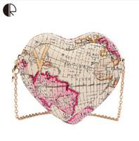 Wholesale Handbag Print Map - New Fashion Brand Design Women Messenger Bags Heart Shape Lovely World Map Printed Ladies Handbag Mini Bags