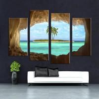 Amazing 4 Panel Höhle Seacape Wohnzimmer Zimmer Wand Wanddruck Auf Leinwand Für Zu  Hause Dekor Ideen Farben