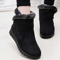 Wholesale Ladies Rubber Boots Designs - New Winter Women's Boots New Design Ladies Winter Shoes Fashion Ankle Boots 2017 Flat with Keep Warm Cozy Snow Boots for Women