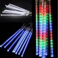 Wholesale Led Snowfall Christmas - LED 8PCS Set Snowfall LED Strip Light Christmas lights Meteor Shower Falling Star Rain Drop Icicle Snow Fall Xmas Fairy Light 100-240V