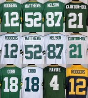 Wholesale Clay Matthews - Best quality Men elite 12 Aaron Rodgers Jerseys 87 Jordy Nelson 52 Clay Matthews Brett Favre Randall Cobb Ha Ha Clinton-Dix Stitched Jersey