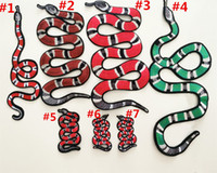 Wholesale 3pcs embroidered small large red green snake sew on patch for clothing collar shoes bag decorative diy accessories appliqued patch537