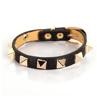 Wholesale Leather Bracelet Music - Hot new LOVELY Fashion star style women's bracelet and candy multicolour Women strap rivet bracelet for Gift
