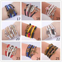 Wholesale Multilayer Bracelet Anchor - 55 Styles Infinity Charm Bracelets Multilayer Woven Leather Bracelets Antique Cross Anchor Love Peach Knitting Bronze Diy Charm Bangles