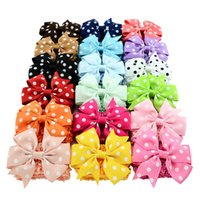 Wholesale Double Bow Clips - Wholesale- 18pcs lot Double Usage Detachable Elastic Band Headband Baby Polka Dots Bows WITH Clip Kids Hairpin Hair Accessories 593