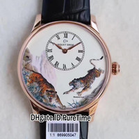 Wholesale Minute Watches - Super Clone Jaquet Droz J005033222 Painting On Enamel Petite Heure Minute Rose Gold Tiger Dial Brown Leather Strap A23J Automatic Mens Watch
