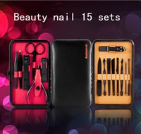 Wholesale Professional Used Clippers - New professional stainless steel nail clipper nail suit nails and pedicure sets 15PCS portable self-use outdoor travel gift set