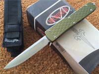 "Wholesale Knives Handles - Microtech Ultratech S E out the front Auto Knife OD Green ( CNC D2 steel 3.4"" satin ) 6061-T6 aluminum handle EDC Pocket knives"