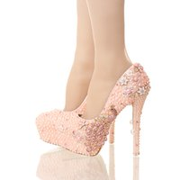 Wholesale new designs ladies wedding shoes for sale - 2016 New Design Pink Pearl Bride Shoes Stiletto Heel Platform Phoenix Rhinestone Wedding Shoes Round Toe Lady Party Prom Pumps