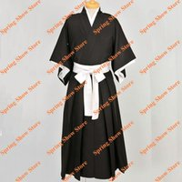 Wholesale Bleach Shinigami Kimono - Wholesale-Bleach Shinigami Kurosaki Ichigo Kuchiki Rukia Black Kimono Cosplay Costume