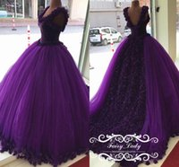 Wholesale Quinceanera Flowers - Fabulous Handmade Flowers Grape Purple Quinceanera Dresses 2017 Long Chapel Train Sleeveless Ball Gown Sweet 16 Pageant Red Carpet Formal