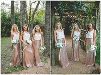 Wholesale Long Dresse - New Design Cheap Country Forest Two Pieces 2017 sheath Bridesmaid Dresses Spaghetti V-Neck Empire Sequined Floor Length Maid Of Honor Dresse