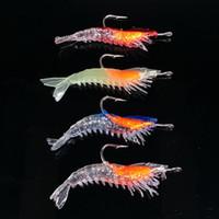 Wholesale Lures Shrimp Bait - 10pcs 6cm 3g Shrimp Hook Silicone Lures Soft Baits Fishing Hooks Fishhooks Artificial Pesca Tackle Accessories