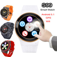 100% ZGPAX 3G Android 5.1 Smart Watch Phone Wifi S99 Quad Core 4GB 1.3GHz WCDMA Bluetooth Smartwatch Mic SIM Frequência cardíaca 3.0MP Câmera GPS FM